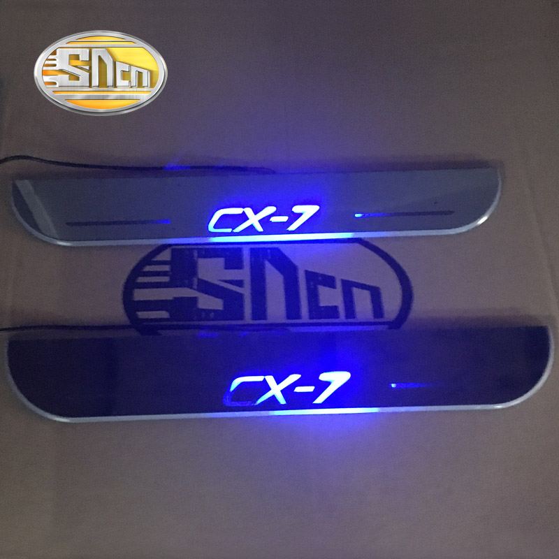 LED moving light scuff pedal for Mazda CX 7 CX7 2014 2018 Acrylic Led Door Sill Welcome Pedal Trim Cover Scuff Plates threshold in Decorative Lamp from Automobiles Motorcycles