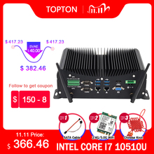 10th Gen Industrial Fanless Mini Computer Intel  i7 10510U i5 10210U Rugged PC 6*COM 2*Lans 8*USB GPIO LPT HDMI VGA 4G WiFi