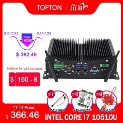 10th Gen Industrial Fanless Mini Computer Intel  i7 10510U i5 10210U Rugged PC 6*COM 2*Lans 8*USB GPIO LPT HDMI VGA 4G WiFi