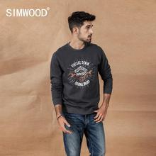 SIMWOOD 2019 الخريف الشتاء جديد إلكتروني طباعة هوديس الرجال خمر عارضة س الرقبة النيلي صبغ 100% عداء القطن البلوز 190455