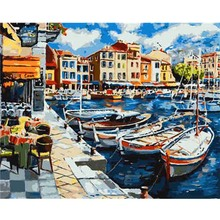 Frame Venice Street DIY Digital Acrylic Hand Painted Canvas Oil Paintings Nordic Style Painting For Living Room Wall Art