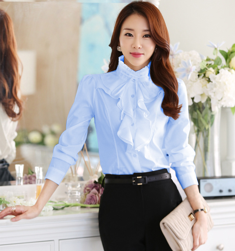 Fashion Design Women Chiffon White Blouses and Tops Long Sleeved Ruffles Stand Collar Autumn Winter 2021 Plus Size Shirts Female 3