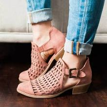 SHUJIN Autumn Shoes Boots Woman 2019 Pumps Peep Toe Sandals Women Zip Chunky Square Heel Ankle Booties Womans Sandals green knitted ankle boots women stretch peep toe sock booties cut out women pumps 9cm high heel shoes woman botines mujer