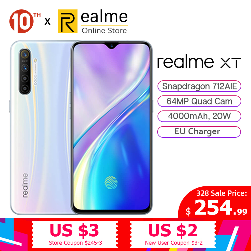 In Stock Global Version Realme XT 8GB 128GB Cellphone Snapdragon 712 AIE 6.4 Inches 64MP Quad Cam 4000mAh 20W VOOC Fast Charge