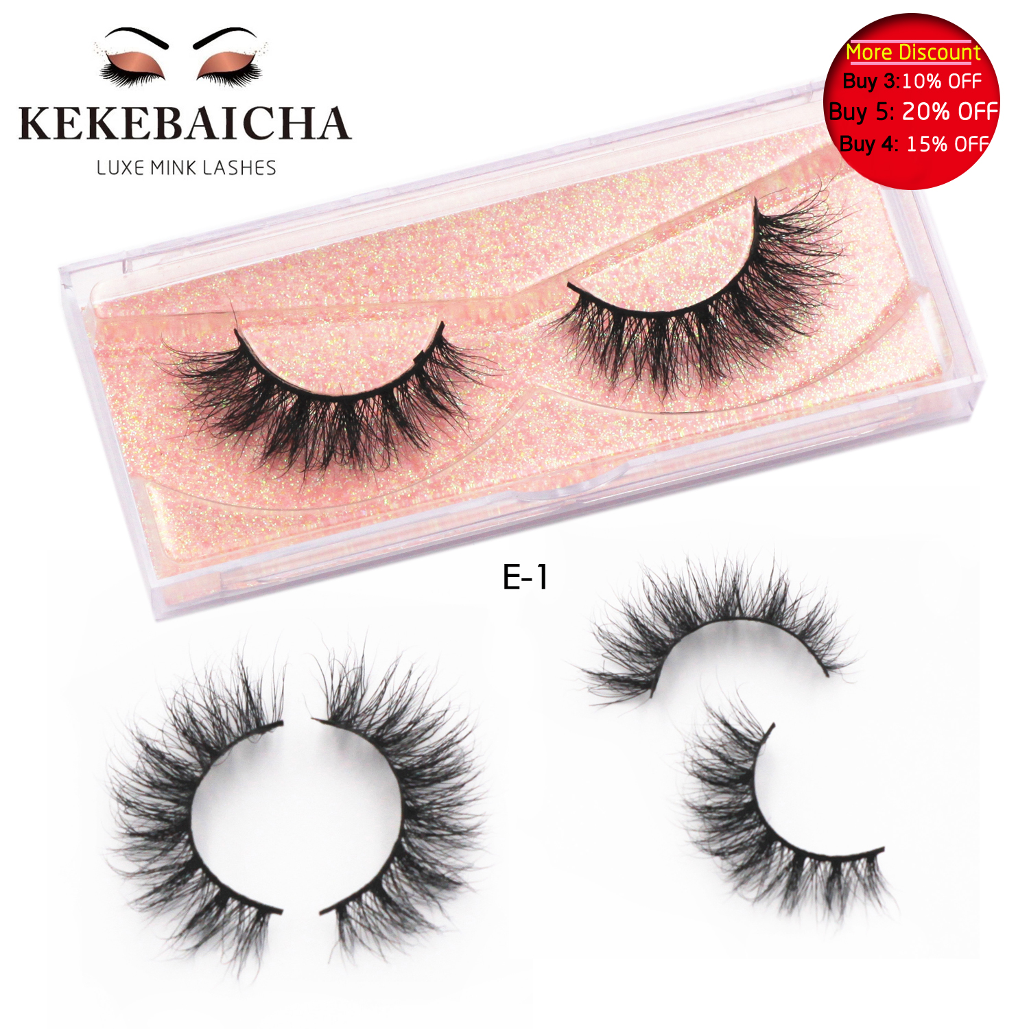 KEKEBAICHA 3D Mink Eyelashes Cruelty Free Handmade Medium Volume Mink Lash Natural Lashes Soft False Eyelashes Makeup Cilios E01