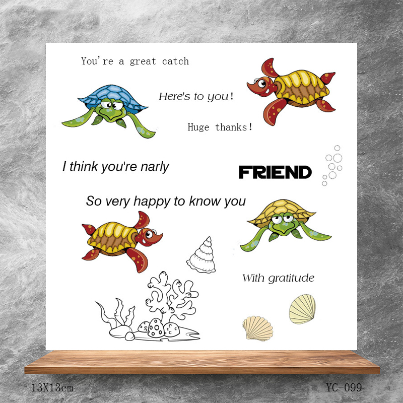 ZhuoAng Silly turtle Clear Stamps Silicone Transparent Seals for DIY scrapbooking photo album Clear Stamps in Stamps from Home Garden
