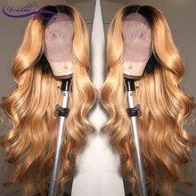 Dream Красота объемная волна эффектом деграде(переход от темного к 27 Цвет длинные глубокий часть 13x6 передний парик шнурка Волосы remy бразильские человеческие волосы парики с детскими волосами