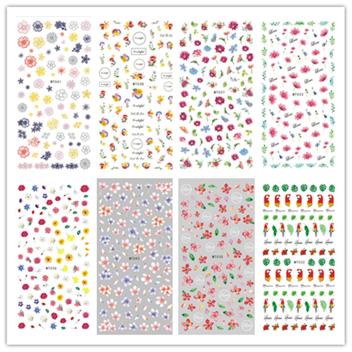 MT032-046 New Style Day South Korea Nail Sticker 3D Flower Nail Decals Nail Jewelry