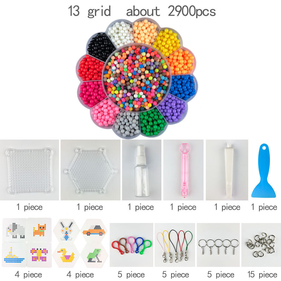 DIY Water Spray Hand Making 3D Hama Beads Puzzle Aqua Educational Toys For Children Kit Ball Game