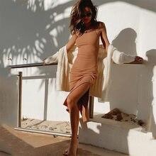 Moda sólida verão vestido feminino sexy sem mangas lado dividir longo lápis vestido fino elegante tanque maxi algodão vestidos robe femme