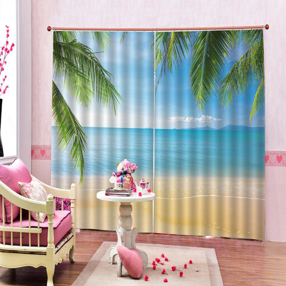 Us 53 24 56 Off Blackout Beach Themed Decor Curtains Exotic Lagoon Sand Sea Ocean Paradise Picture D For Living Room Bedroom In From
