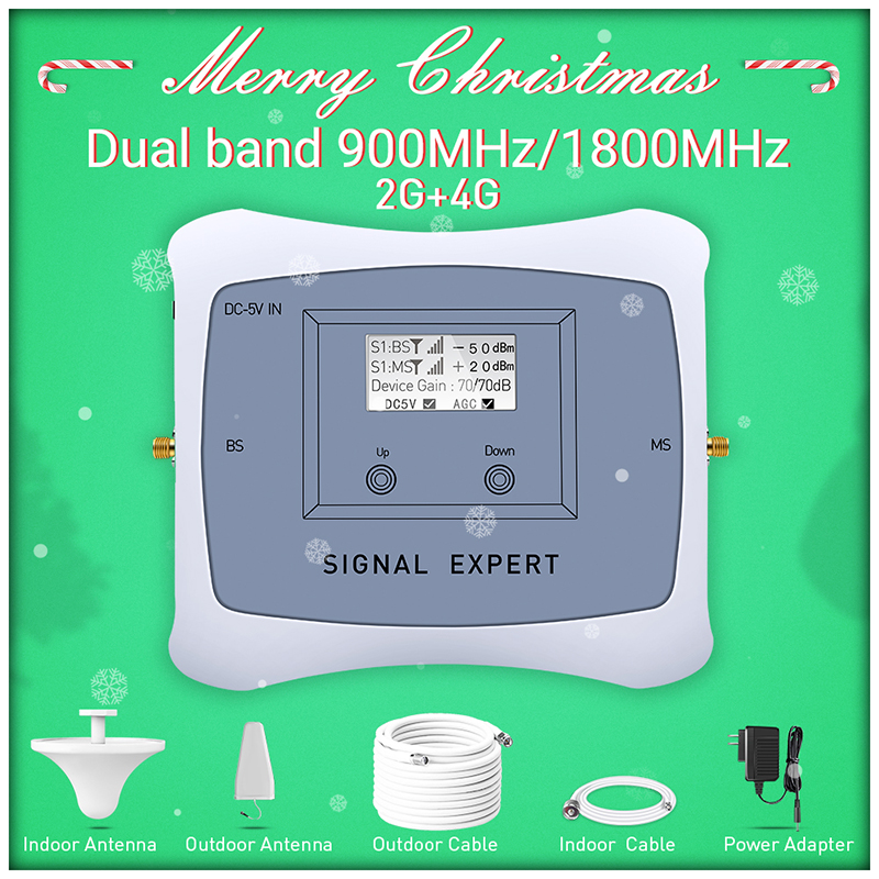 Ny ankomst! 2g 4g mobil signalforstærker DUAL BAND 900/1800 mhz cellesignal mobiltelefonrepeaterforstærker med LCD display kit