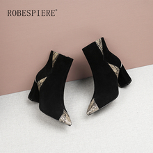 ROBESPIERE Quality Kid Suede Pointed Toe Ankle Boots Fashion Zipper Mixed Colors Shoes Women Winter Warm Plush Ladies B58
