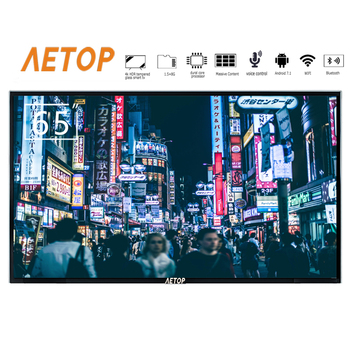 Free shipping-big size tmepered glass flat screen tv 4k Ultra HD android 65 inch led smart television with bluetooth