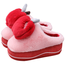 Winter New Women Plush Slippers Warm Non-slip High Heels Cut