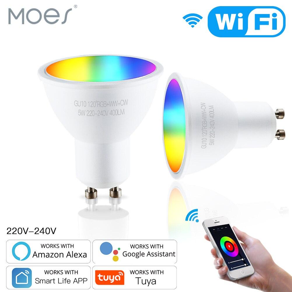 Умсветильник светодиодные лампы Moes Tuya GU10 с Wi-Fi, приглушаемые светильники с дистанционным управлением, работает с Alexa Google Home, RGBCW, 5 Вт