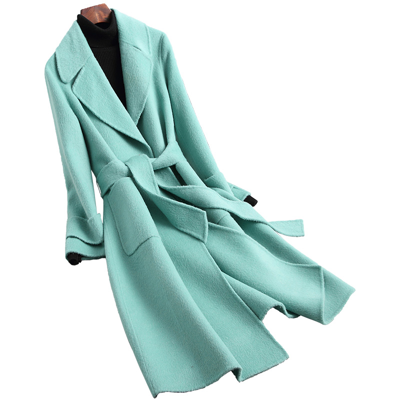 Echte Wolle Mischung Pelzmantel Winter Frauen Pelz X-Lange Oberbekleidung Mantel LF2116