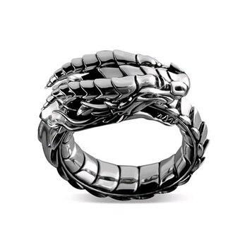 Bague Dragon de feu viking écaille d'argent 1