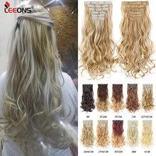 Leeons 16 заколок для наращивания волос 22 дюйма волнистые черные