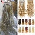 Leeons 16 заколок для наращивания волос 22 дюйма волнистые черные коричневые узкие синтетические заколки для наращивания волос оптом 16 заколок ...