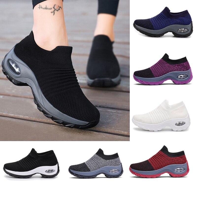 Women Tennis Shoes Breathable Mesh Height-increasing Slip-on Female Sock Footwear Outdoor Women Sneakers Thick Bottom Platforms