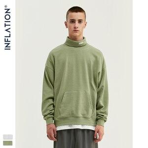 Image 4 - 인플레이션 2020 뉴 루즈 피트 와플 소재 스웨터 남성용 카울 넥 풀오버 가을 씬 남성 운동복 퓨어 컬러 9622W