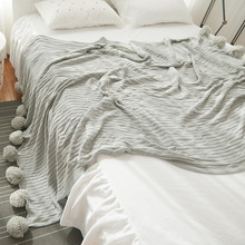 Japan Style Soft Cotton Throw Blanket Striped Knitted Home Sofa Bed Blankets With Decorative Ball 5 Colors