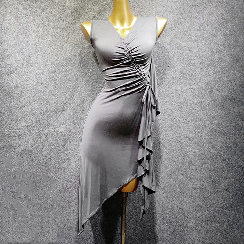 Gray Latin Dance Clothes Female New Dance Practice Clothes Black Ballroom Dance Woman Dress  Women Tuxedo Dress