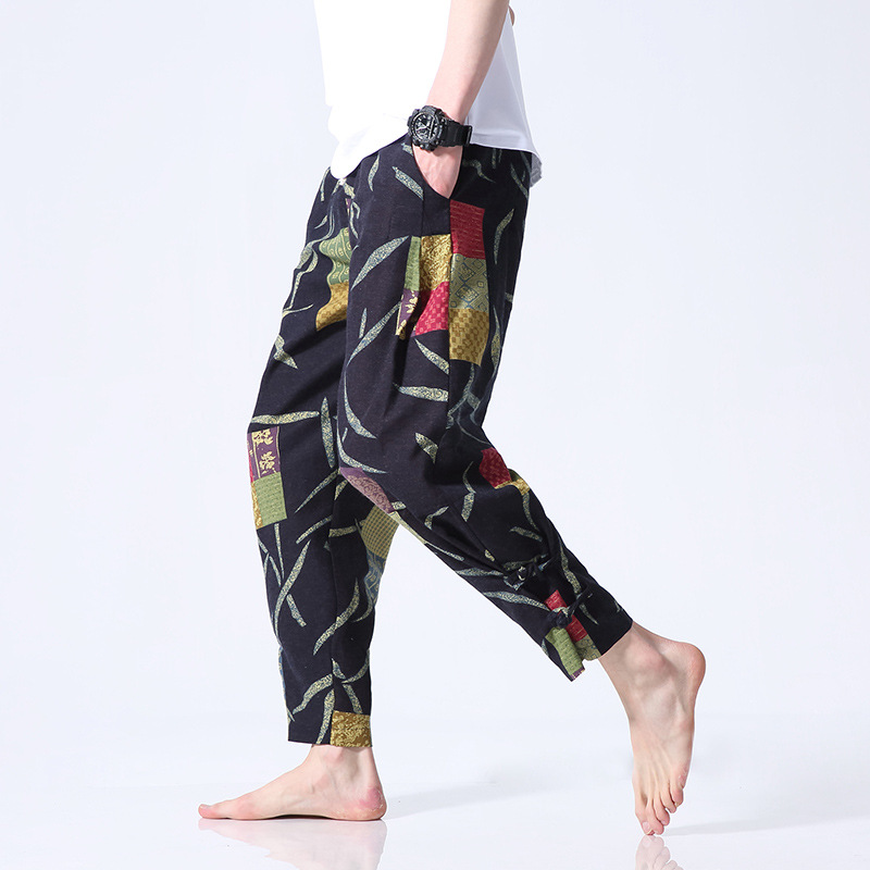 2019 Chinese-style Men's Trousers Frog Printed Ethnic-Style Elastic To Capri Trousers Plus-sized Pants