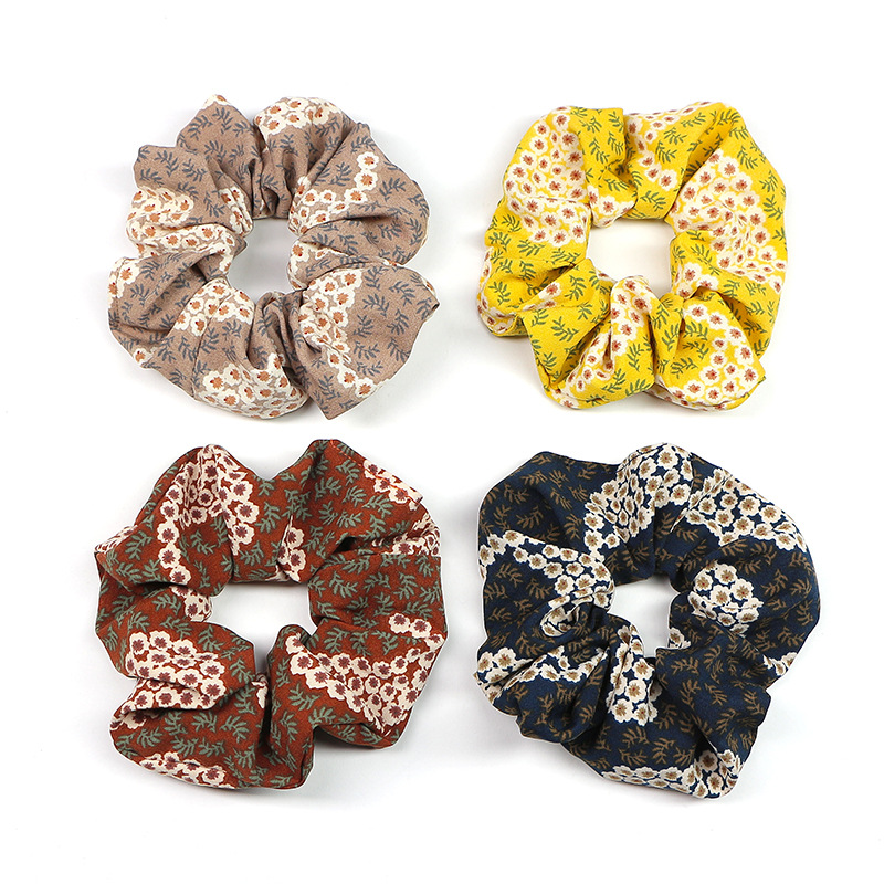 New Year Retro Designers Brand Schrunchy Flowers Pattern Vintage Scruncies For Womens Ponytail Elastic Rubbers