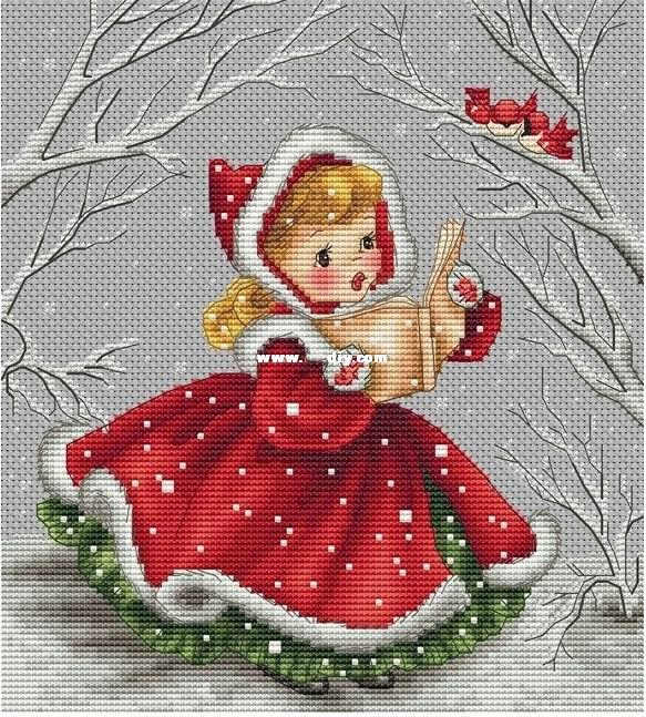 Higher Cotton Counted Cross Stitch Kit Chanson de Noel Christmas Song Little Red Riding Hood Reading and Birds in image