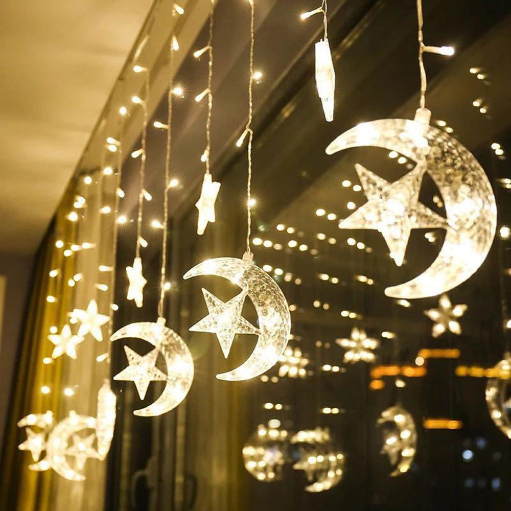 Moon Star Lamp LED String Ins Christmas Light Decoration Holiday Curtain Wedding Neon Lantern 220v Fairy Plug Garland NEW YEAR