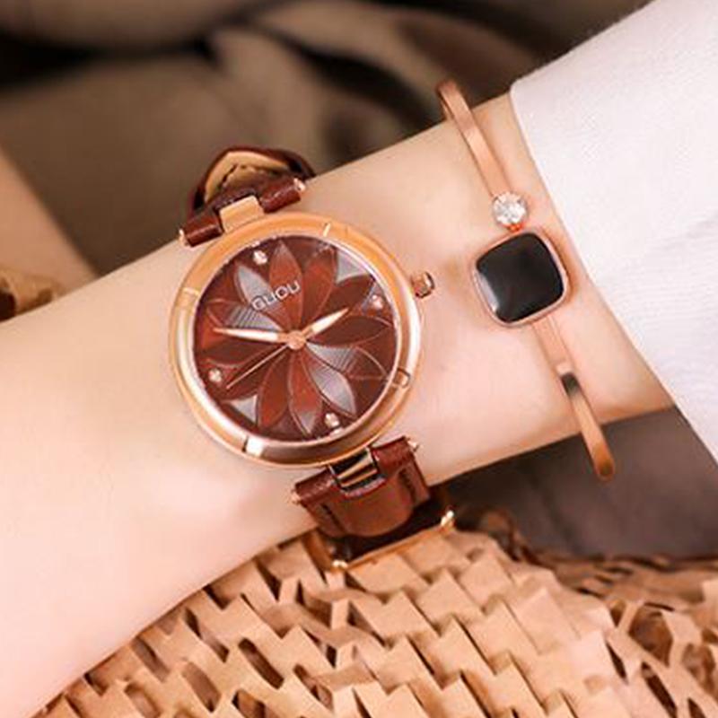 Zegarki Damskie Rose Gold Women Watches 2019 GUOU Ladies Watch Spinning Watch Stainless Steel Watch Clock relogio feminino saat