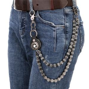 Image 5 - גברים של Keychain ז אן Biker ארנק שרשרות כסף מתכת ציר חגורת רוק היפ הופ רחוב פאנק ציפוי מסמרה ז אן צפצף שרשרות DR82