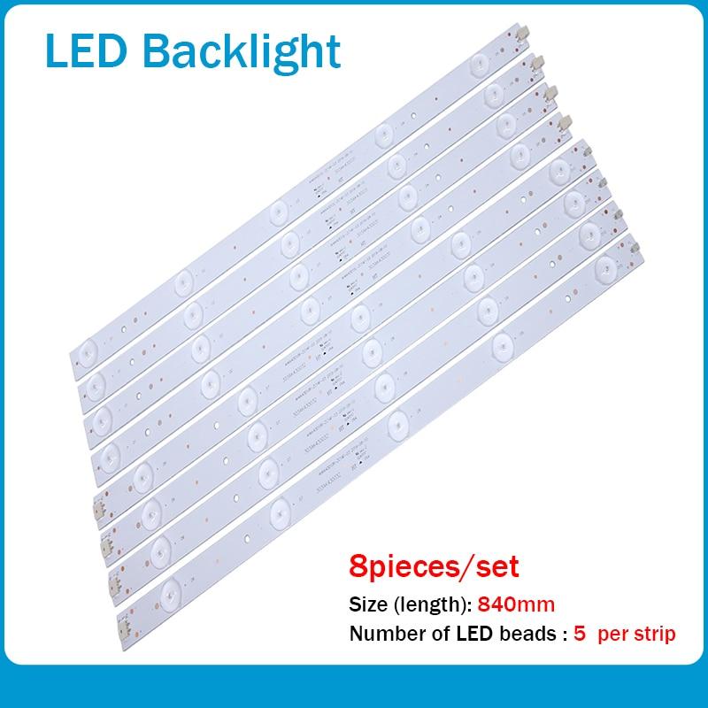 100% New 1set=8pieces 840mmLED Backlight Strip For Led-43b550 LCD Backlight Strip AHKK43D10R/ L-zc14f-03 303AK430032