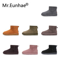 Men Women Couple Winter Snow Boots Ugs Australia Genuine Leather Ankle Boots Warm Winter Rubber Boots Women's Shoes Large Size