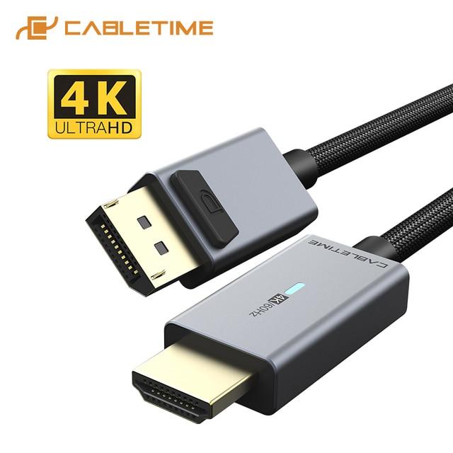 2020 кабель CABLETIME DP в HDMI 4K/60 Гц, HDMI2.0 светодиодный конвертер Displayport для ноутбука, ПК, Macbook Air, Acer, Dell, кабель HDMI C313