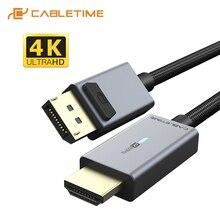 2020 cabletime dp hdmi 4 18k/60hzケーブルHDMI2.0 ledミニディスプレイポート変換ノートpc用のmacbook airエイサー、デルhdmiケーブルC313