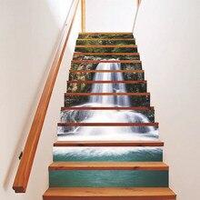 12 pçs auto-vara escada riser adesivo scenic mural decalque impermeável auto-vara e fácil de colar auto-vara e fácil