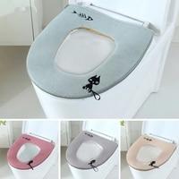 Winter Universal Toilet Seat Cover Warm Soft  Plush Zipper WC Mat Toliet Mat Toilet Seat Cover Home Decoration Accessories