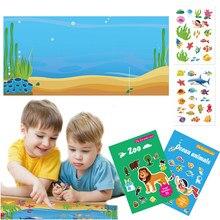 Crianças adesivos livro diy brinquedos puzzle jogo dos desenhos animados jardim zoológico mar animais criação adesivo almofada aprendizagem educação menina menino crianças presentes