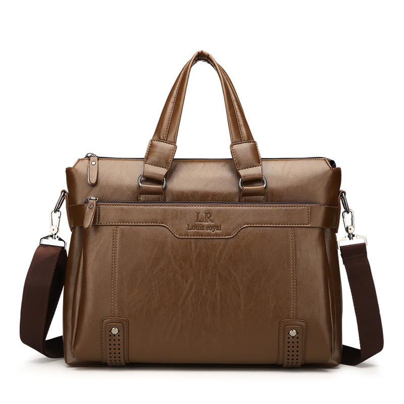 Luxury Designer PU Leather Men's Briefcase Male Business Handbag 14 Inches Laptop Bag Fashion Men's Briefcase Shoulder Bag 2019