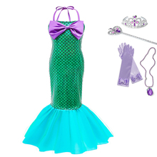 Little Mermaid Princess Arier Dress Girls Cute Fancy Strapless Gowns Kids New Year Party Birthday Green Clothes Cosplay Costume