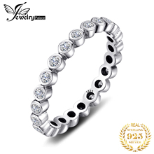JPalace Cubic Zirconia Ring 925 Sterling Silver Rings for Women Stackable Ring Eternity Band Silver 925 Jewelry Fine Jewelry classic rhodium finish men sterling silver 925 ring 5 5mm round cubic zirconia jewelry bijoux homme size 10 to 13 r500