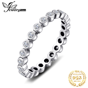 Image 1 - JPalace Cubic Zirconia Ring 925 Sterling Silver Rings for Women Stackable Ring Eternity Band Silver 925 Jewelry Fine Jewelry