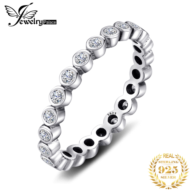JPalace Cubic Zirconia Ring 925 Sterling Silver Rings for Women Stackable Ring Eternity Band Silver 925 Jewelry Fine Jewelry