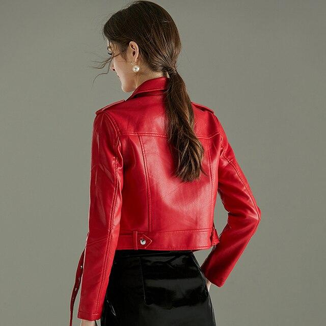 FTLZZ Women Faux Soft Leather Short Jacket Rivet Epaulet Zipper Pu Motorcycle Basic Jackets Female Red Black Outerwear With Belt 6