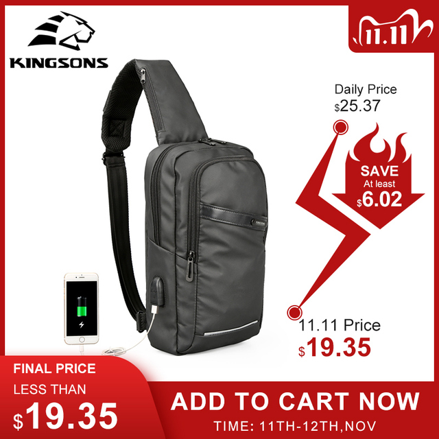 Kingsons New 10 Chest Bag High quality Crossbady Bags Single Shoulder Strap Back pack Business Travel Casual Bags Hot Sale