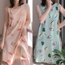 Sweet Girls Nightdress With Chest Pad Female Thin Section Spring And Autumn Nightdress Women Summer Cami Dress-avocado Print maxi cami dress with fringing black