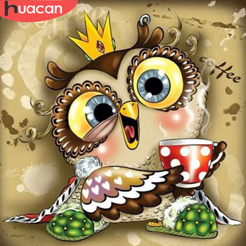 HUACAN Diamond Embroidery Owl Full Square Painting Cartoon Diy Mosaic Picture Of Rhinestone Handmade Child Gift - discount item  30% OFF Arts,Crafts & Sewing